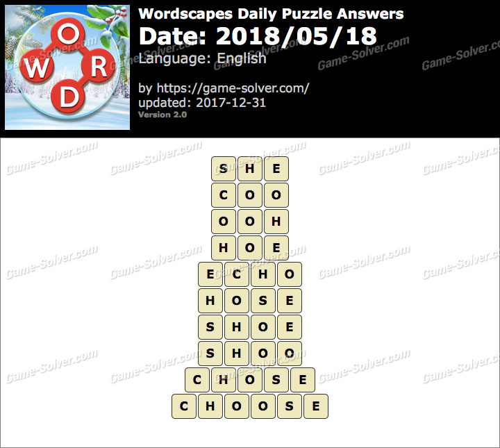 Wordscapes Daily Puzzle 2018 May 18 Answers