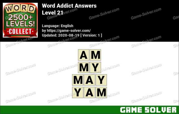Word Addict Level 21 Answers