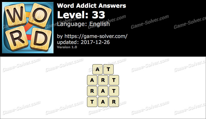 Word Addict Level 33 Answers