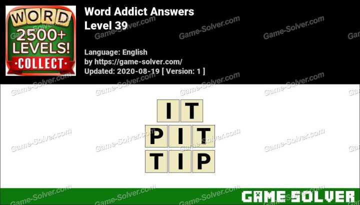 Word Addict Level 39 Answers