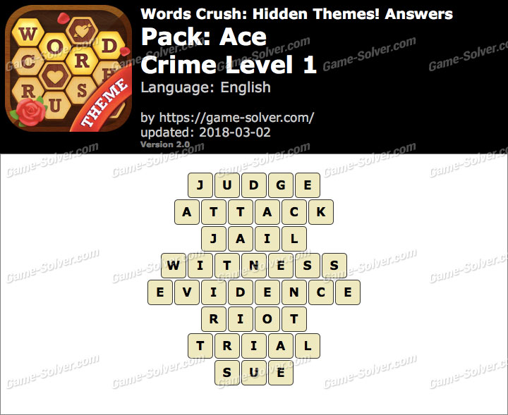 Words Crush Ace-Crime Level 1 Answers