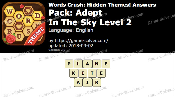 Words Crush Adept-In The Sky Level 2 Answers