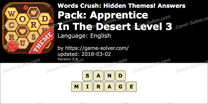 Words Crush Apprentice-In The Desert Level 3 Answers