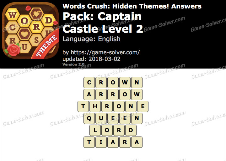 Words Crush Captain-Castle Level 2 Answers