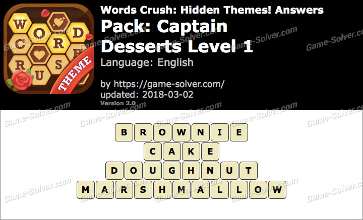 Words Crush Captain-Desserts Level 1 Answers