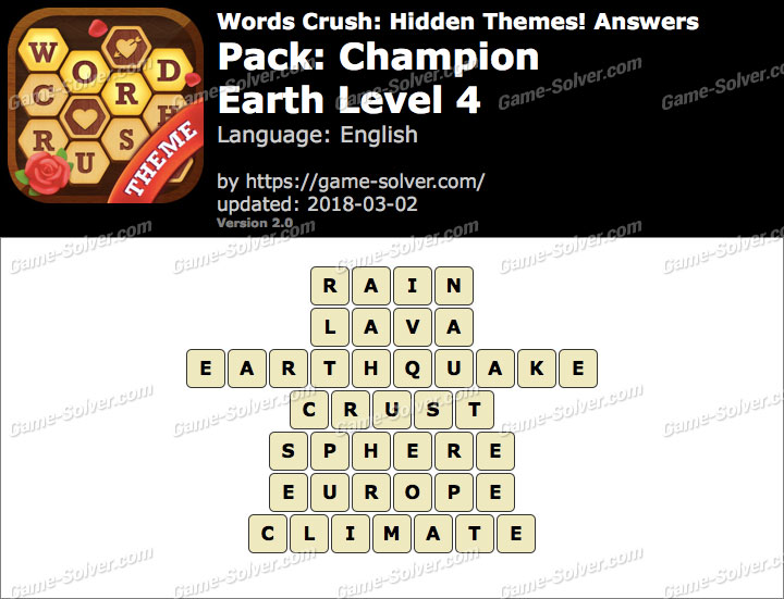 Words Crush Champion-Earth Level 4 Answers