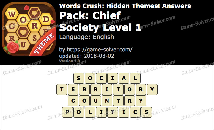 Words Crush Chief-Society Level 1 Answers