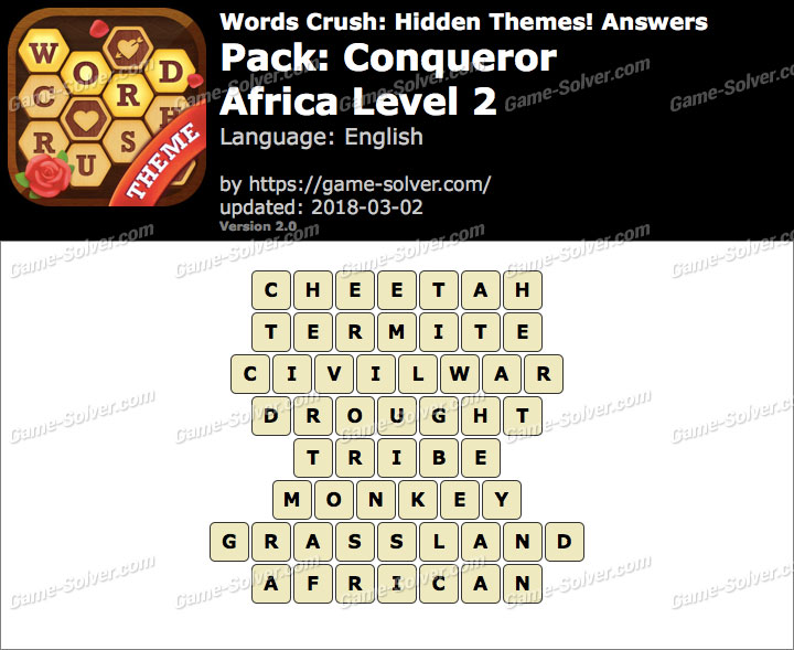 Words Crush Conqueror-Africa Level 2 Answers