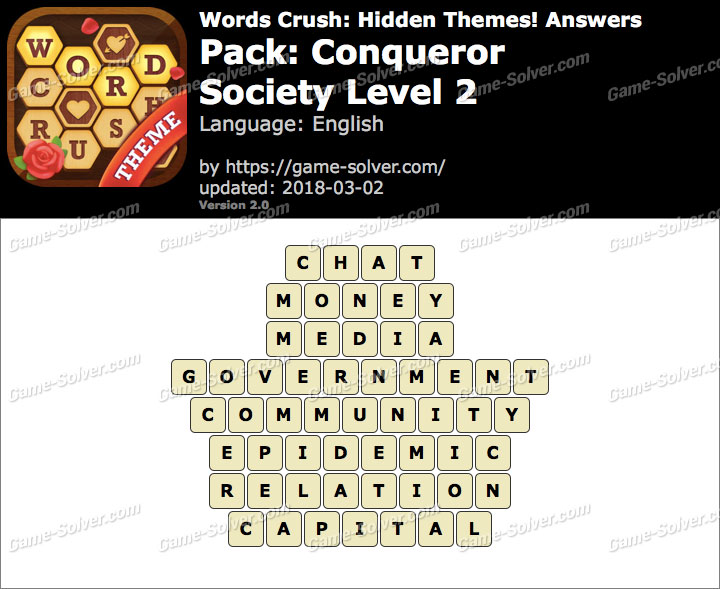 Words Crush Conqueror-Society Level 2 Answers