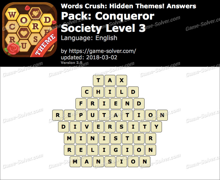 Words Crush Conqueror-Society Level 3 Answers