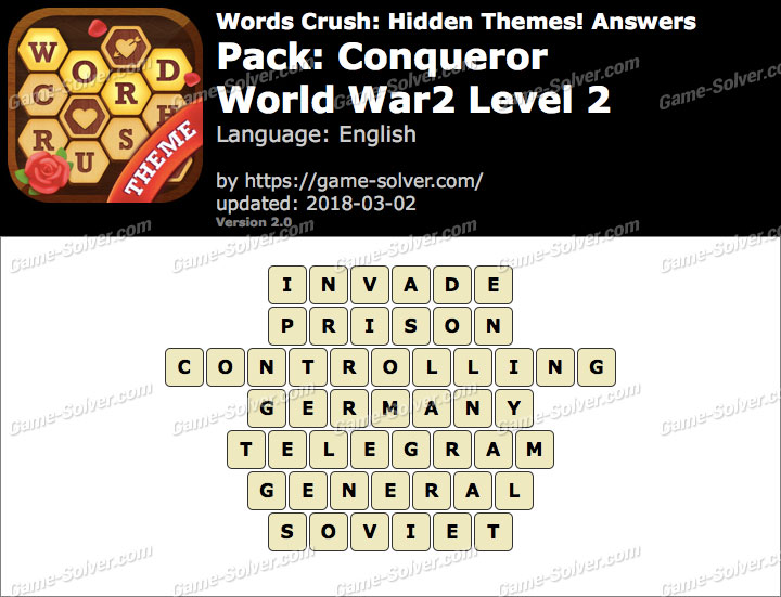 Words Crush Conqueror-World War2 Level 2 Answers