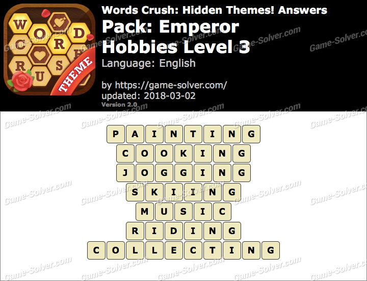 Words Crush Emperor-Hobbies Level 3 Answers