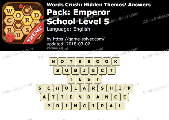 Words Crush Emperor-School Level 5 Answers