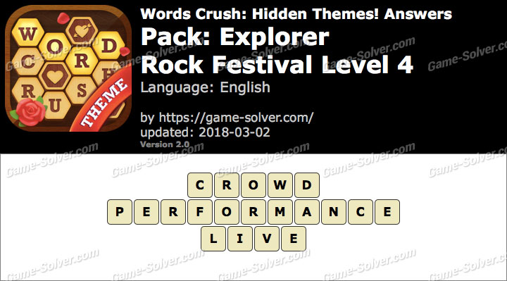 Words Crush Explorer-Rock Festival Level 4 Answers
