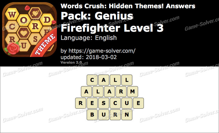 Words Crush Genius-Firefighter Level 3 Answers