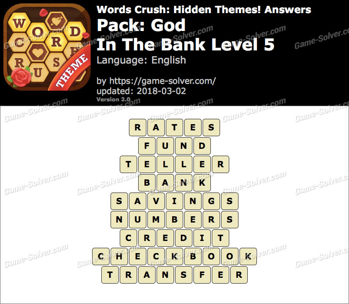 Words Crush God-In The Bank Level 5 Answers