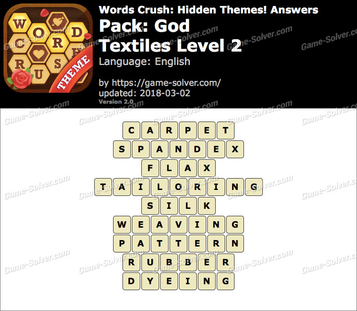 Words Crush God-Textiles Level 2 Answers