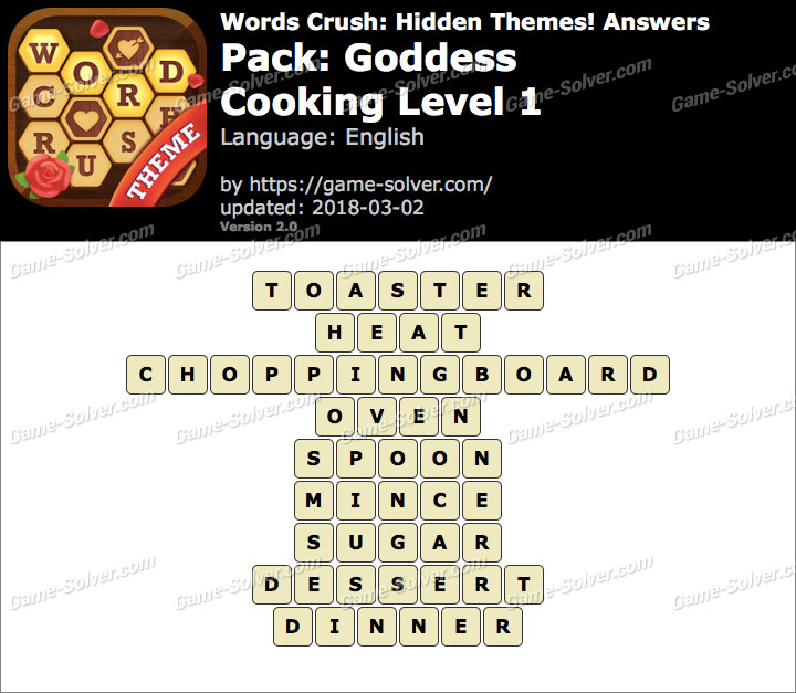 Words Crush Goddess-Cooking Level 1 Answers
