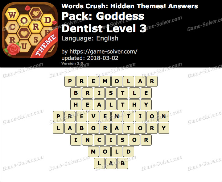 Words Crush Goddess-Dentist Level 3 Answers