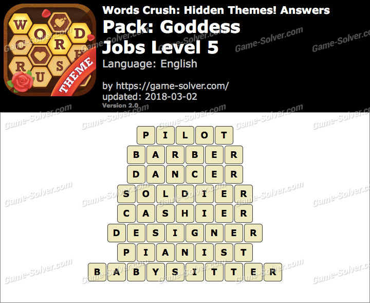 Words Crush Goddess-Jobs Level 5 Answers