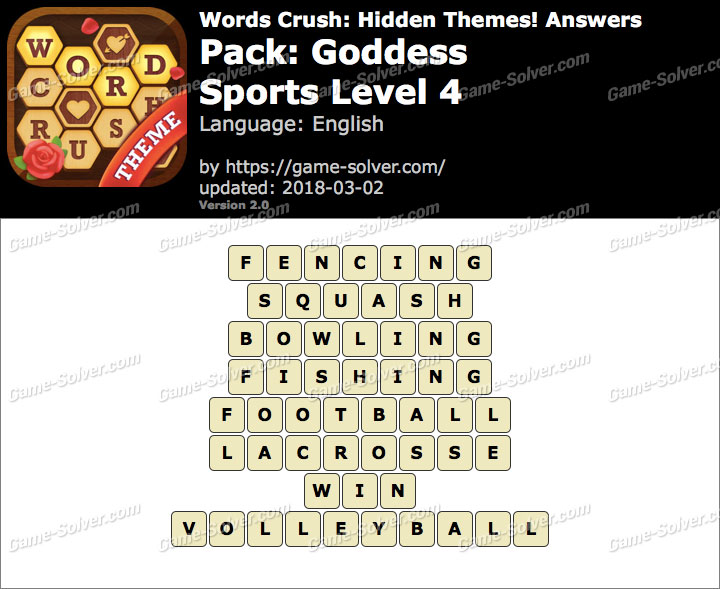 Words Crush Goddess-Sports Level 4 Answers