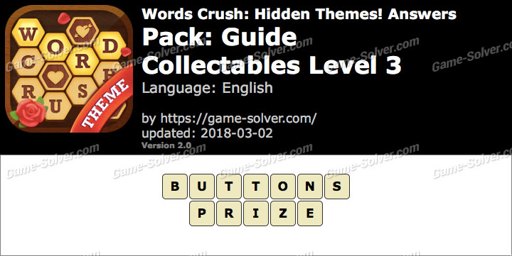 Words Crush Guide-Collectables Level 3 Answers