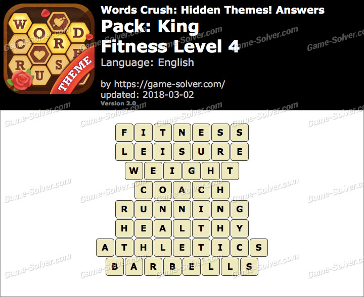 Words Crush King-Fitness Level 4 Answers