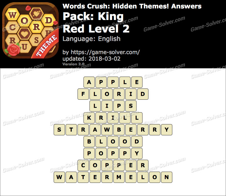 Words Crush King-Red Level 2 Answers