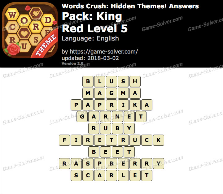 Words Crush King-Red Level 5 Answers
