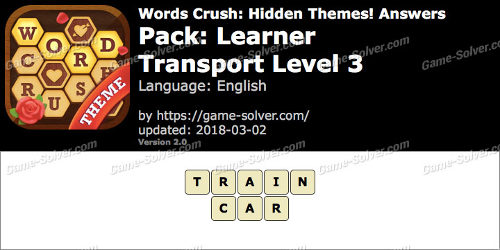 Words Crush Learner-Transport Level 3 Answers
