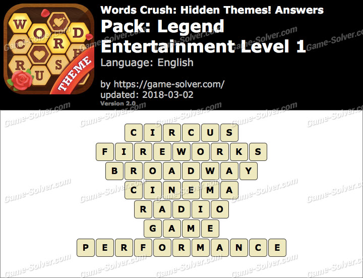 Words Crush Legend-Entertainment Level 1 Answers