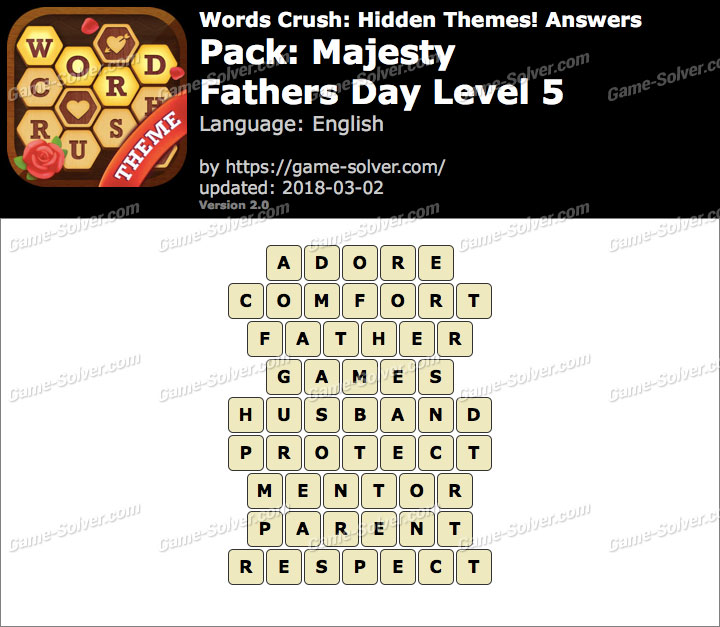 Words Crush Majesty-Fathers Day Level 5 Answers