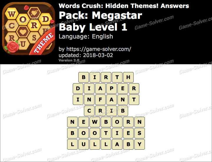 Words Crush Megastar-Baby Level 1 Answers