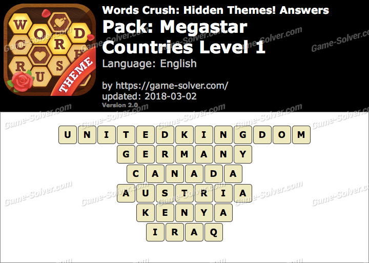Words Crush Megastar-Countries Level 1 Answers