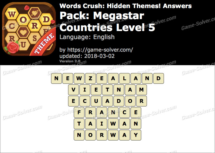 Words Crush Megastar-Countries Level 5 Answers