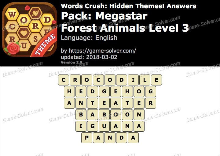 Words Crush Megastar-Forest Animals Level 3 Answers