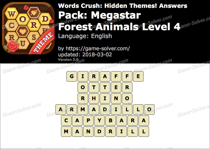 Words Crush Megastar-Forest Animals Level 4 Answers