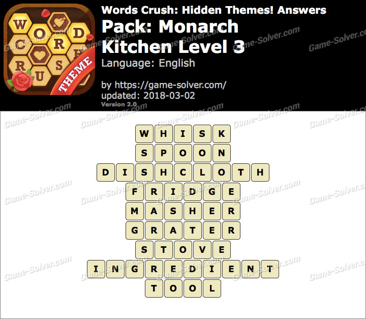 Words Crush Monarch-Kitchen Level 3 Answers