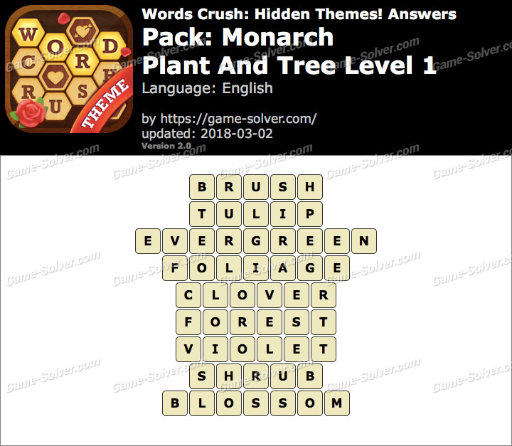 Words Crush Monarch-Plant And Tree Level 1 Answers
