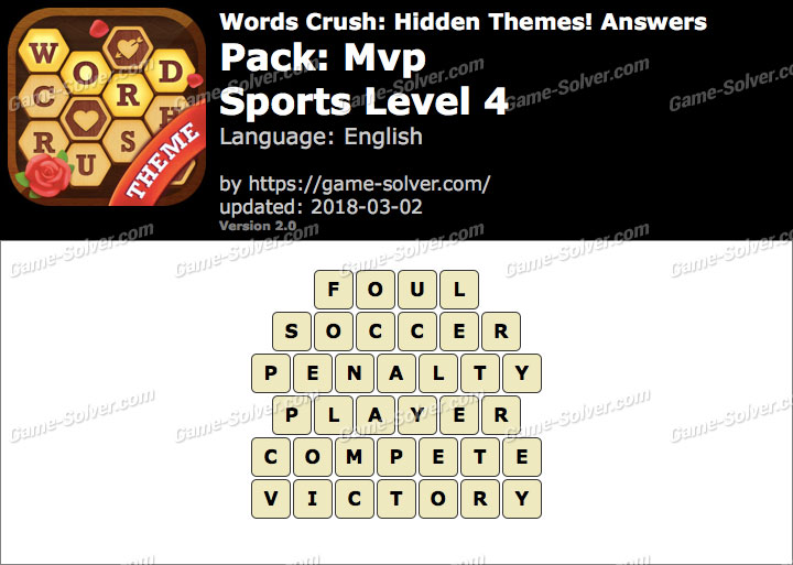 Words Crush Mvp-Sports Level 4 Answers