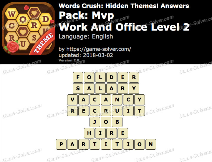 Words Crush Mvp-Work And Office Level 2 Answers