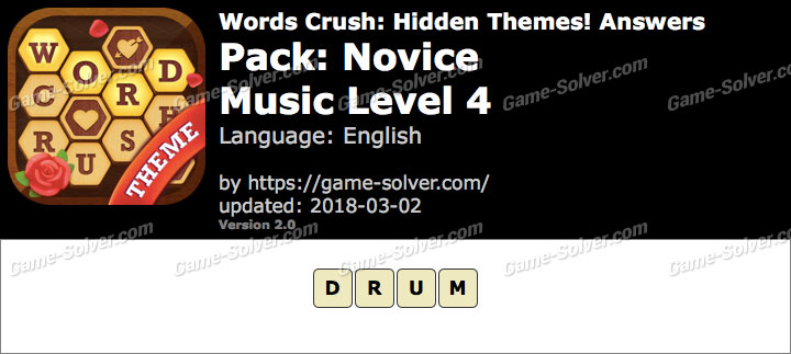 Words Crush Novice-Music Level 4 Answers