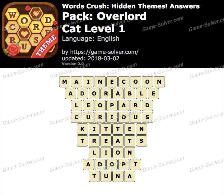 Words Crush Overlord-Cat Level 1 Answers