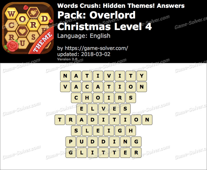 Words Crush Overlord-Christmas Level 4 Answers