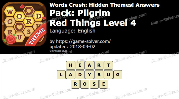 Words Crush Pilgrim-Red Things Level 4 Answers