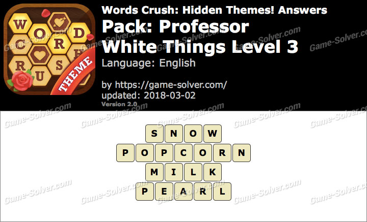 Words Crush Professor-White Things Level 3 Answers
