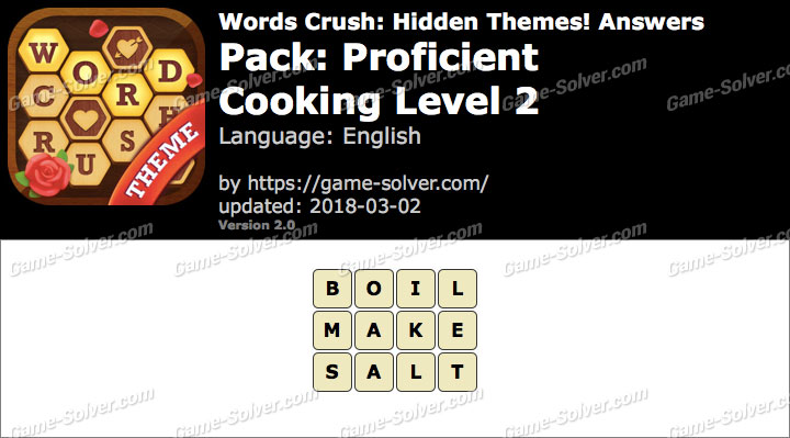 Words Crush Proficient-Cooking Level 2 Answers