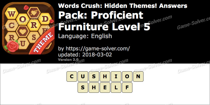 Words Crush Proficient-Furniture Level 5 Answers
