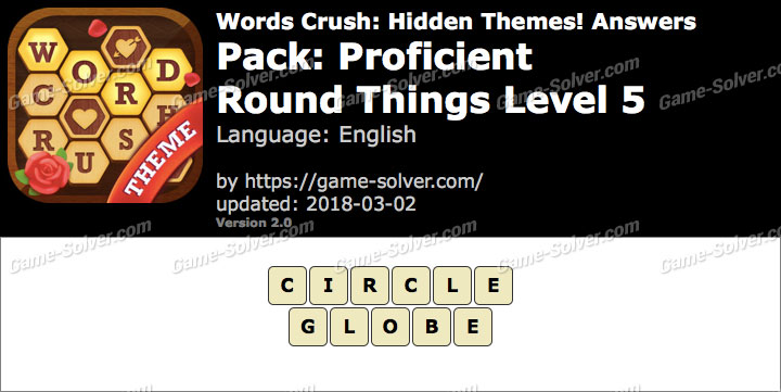 Words Crush Proficient-Round Things Level 5 Answers
