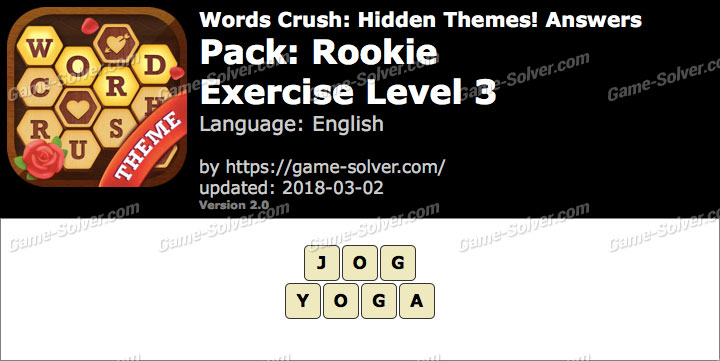 Words Crush Rookie-Exercise Level 3 Answers